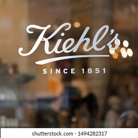 New York, New York, USA - August 31, 2019: Logo on a Kiehl's outlet in manhattan