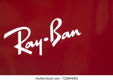 NEW YORK, USA - AUGUST 31, 2017: Ray-Ban logo on store in New York, USA. It is a brand of sunglasses and eyeglasses founded in 1937 by American company Bausch and Lomb.