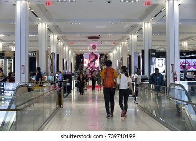 NEW YORK, NEW YORK, USA - AUGUST 6: Inside Macy's Department store with shoppers.  Taken August 6, 2017 in New York.