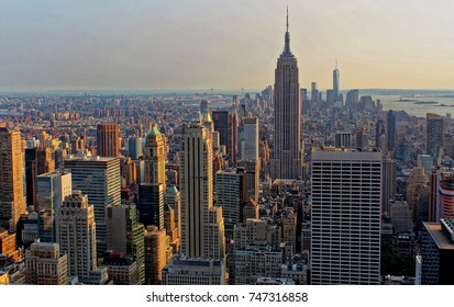 New York, USA - August 6, 2014: Aerial view of Manhattan skyline and skyscrapers at sunset