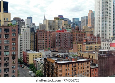 New York, USA - August 6, 2014: Chrysler building viewed from Roosevelt Island Tramway