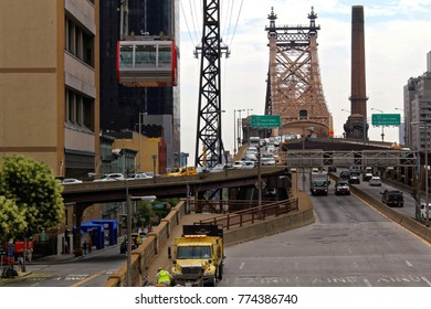 New York, USA - August 6, 2014: Queensboro bridge viewed from Roosevelt Island station