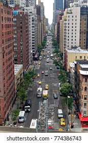 New York, USA - August 6, 2014: 1st avenue viewed from Roosevelt Island Tramway