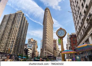 NEW YORK, USA - AUGUST 7, 2017:  Flatiron Building view on August 6, 2017, New york, USA. Flatiron building designed by Chicago's Daniel Burnham was designated a New York City landmark in 1966.