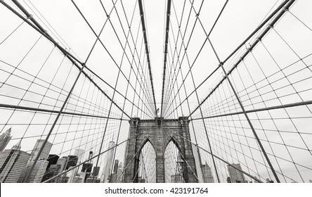 New York, USA. Black and white image of Brooklyn bridge and Manhattan