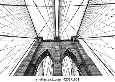 New York, USA. Black and white image of Brooklyn bridge