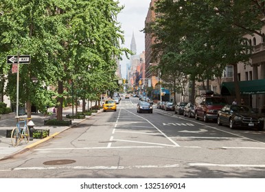 New York, USA; circ Aug 2012: Street view of New York City and Chrysler Building in the summer