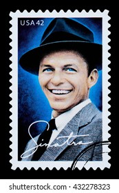 NEW YORK, USA - CIRCA 2010: A postage stamp printed in the USA showing Frank Sinatra, circa 2003