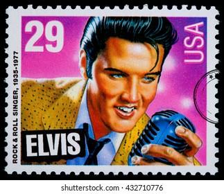 NEW YORK, USA - CIRCA 2010: A postage stamp printed in USA showing Elvis Presley, circa 1980