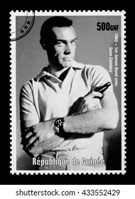 NEW YORK, USA - CIRCA 2010: A postage stamp printed in the Republic of Guinea showing James Bond, circa 2003