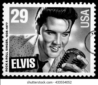 NEW YORK, USA - CIRCA 2010: A postage stamp printed in USA showing Elvis Presley, circa 1980
