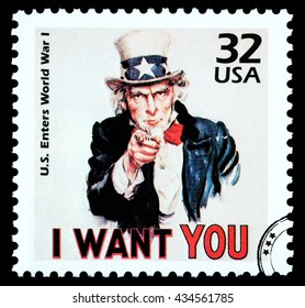 NEW YORK, USA - CIRCA 2010: A postage stamp printed in the USA showing Uncle Sam, circa 1985