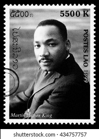 NEW YORK, USA - CIRCA 2010: A postage stamp printed in Laos showing Martin Luther King, circa 1999