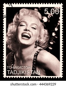 NEW YORK, USA - CIRCA 2010: A postage stamp printed in Tadjikistan showing Marilyn Monroe, circa 2000