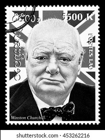 New York - USA - Circa 2010: A postage stamp printed in Laos showing a portrait Winston Churchill, circa 2000