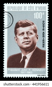 NEW YORK, USA - CIRCA 2016: A postage stamp printed in Cote D'ivoire (Ivory Coast) showing John F. Kennedy, circa 1964