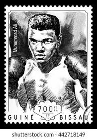 NEW YORK, USA - CIRCA 2016: A postage stamp printed in Guinea Bissau showing Muhammad Ali, circa 2014