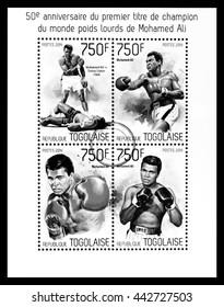 NEW YORK, USA - CIRCA 2016: A postage stamp sheet printed in Togo showing Muhammad Ali, circa 2014