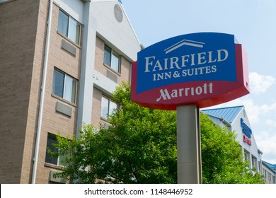 New York, USA - Circa 2018: Fairfield Inn & Suites Marriott hotel chain exterior building and sign. People travel and book room to sleep at night