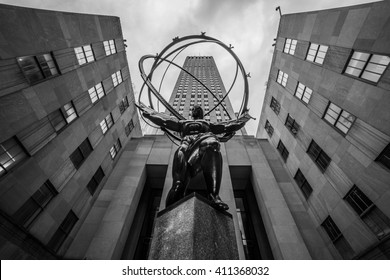 new York, USA - Circa March 2016 - the statue of atlas at the rockefeller center