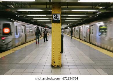 NEW YORK, USA - CIRCA MAY 2017: A platform inside an underground station of the New York City Subway system