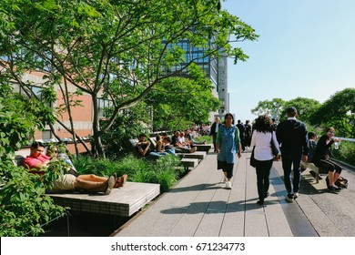 NEW YORK, USA - CIRCA MAY 2017: People relaxing on the High Line, a linear park created on an elevated section of a disused New York Central Railroad in New York city