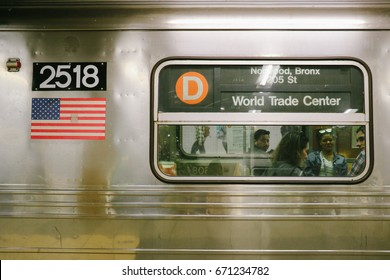 NEW YORK, USA - CIRCA MAY 2017: Exterior view of a train car of the New York City Subway system