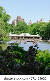 NEW YORK, USA - CIRCA MAY 2017: Rowboats on the main lake (the Jacqueline Kennedy Onassis Reservoir) in Central Park, New York City, with the Loeb Boathouse in the background