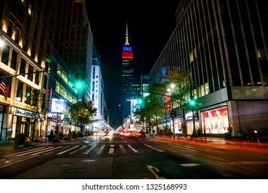 New York, USA; circa Nov 2013: Nighttime view of the Empire State Building