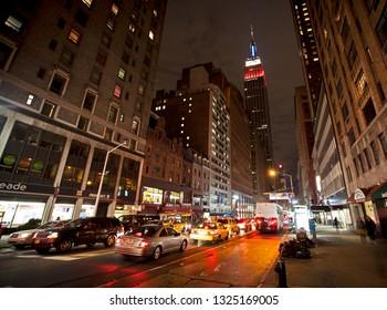 New York, USA; circa Nov 2011: Nighttime view of the Empire State Building