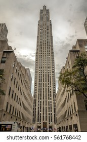 New York, USA - Circa November 2012. Famous Rockefeller Center in New York city; low angle view.