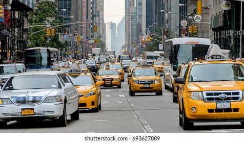 New York, USA. Circa November 2011. Rush hour traffic on New York city street.