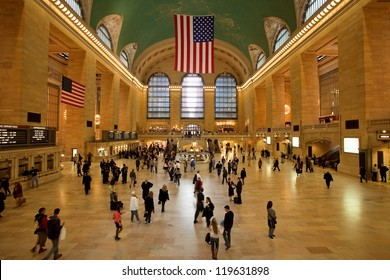 NEW YORK, USA - CIRCA SEPT. 2009: Main lobby at Grand Central Terminal circa September 2009 in New York City. Grand Central Terminal is the largest train station in the world by number of platforms.