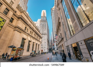 New York, USA - Dec 1, 2016: Wall street  in New York City