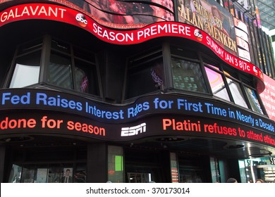 NEW YORK, USA - DEC 16, 2015: ABC news screen announces Federal Reserve lifts key interest rate at the Times Square, a major commercial neighborhood in Midtown Manhattan, New York City