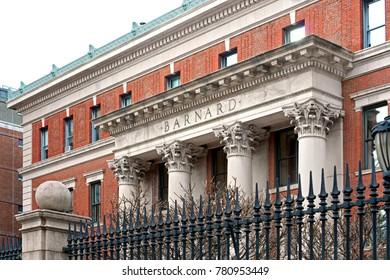 NEW YORK, USA - DEC 8, 2017: Barnard College, private women's liberal arts college. Founded in 1889, it is one of oldest women's colleges in world