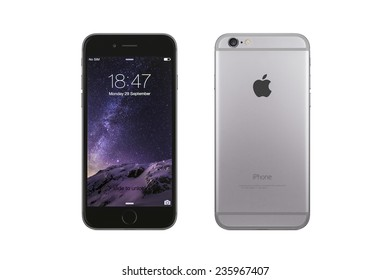 New York, USA - December 07, 2014: Front and back view of a space grey color iPhone 6 showing the home screen with iOS8. Isolated on white.