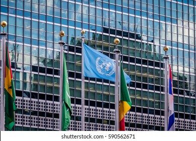 NEW YORK, USA - December 08, 2016: Flags at United Nations Headquarters - New York, USA