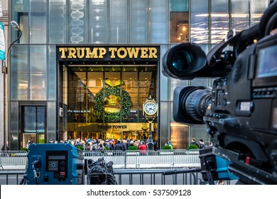 New York, USA - December 09, 2016: Media camera equipment recording the front of Trump Tower, residence of president elect Donald Trump (focus on the building)