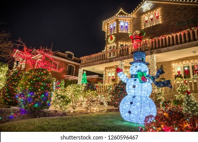 New York, USA, December 10, 2018: Christmas decorations of houses in the neighborhood of Dyker Heights, in southwest of Brooklyn, in New York. USA