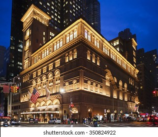 New York, New York, USA - December 11, 2015: Carnegie Hall in Manhattan in the evening. Located on the corner of 57th St. and 7th Ave., it is one of the most well known concert halls in the world.