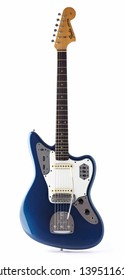 New York, New York, USA - December 12, 2011: A 1963 Fender Jaguar electric guitar was the top of the line and most expensive solid body electric guitar in the Fender series of the 1960s to mid 1970s.
