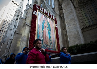 New York, New York / USA – December 12, 2019: Catholics participate in an annual procession honoring Our Lady of Guadalupe in New York City.