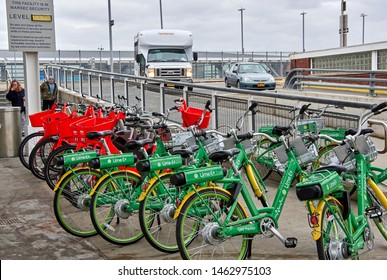 NEW YORK, USA - DECEMBER 14, 2018: Lime-e rental bikes in New York city. Lime-e is transportation and rental electric bike service owned by Neutron Holdings