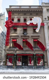 New York, New York USA - December 17 2020: Cartier Boutique with Beautiful Christmas Decorations along Fifth Avenue in Midtown Manhattan of New York City