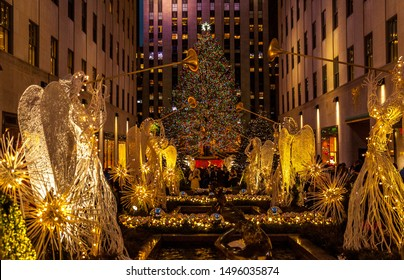 New York, USA, December 2016 - A christmas tree in front of Rockefeller center during christmas holiday