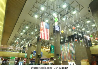 New York, USA - December, 2016: American Nation Flag was decorated in The Port Authority Bus Terminal , the main gateway for interstate buses into Manhattan in New York City.