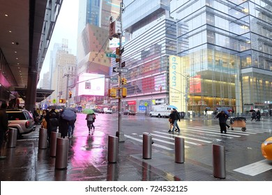 New York, USA - December, 2016: There is rain in front of The Port Authority Bus Terminal , the main gateway for interstate buses into Manhattan in New York City.