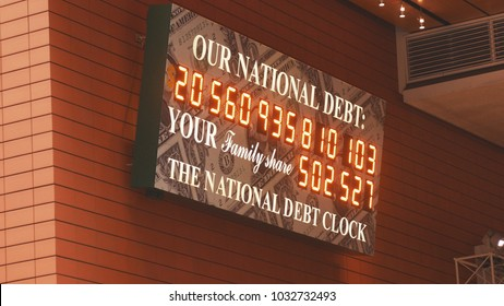 NEW YORK, USA- DECEMBER 2017: National Debt of USA clock in Manhattan