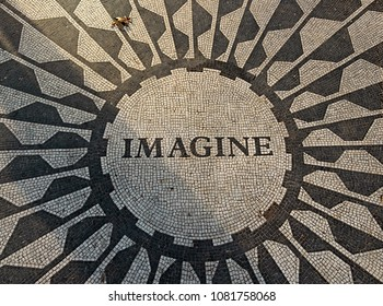 New York, USA, December, 2017.The Imagine mosaic dedicated to John Lennon at Strawberry Fields in Central Park, New York City